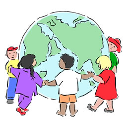 children of all races holding hands around a globe of the earth